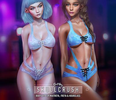 Skullcrush Bodysuit - DEMO by Sweet Thing. Crushed velvet suit for Maitreya, Belleza Freya Perky & Slink Hourglass