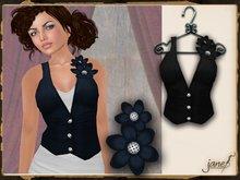 JANE - button flower vest.raven