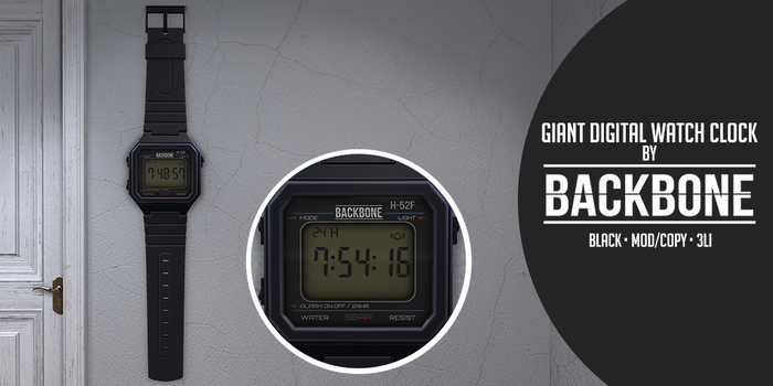 BackBone Giant Digital Watch Clock - Black