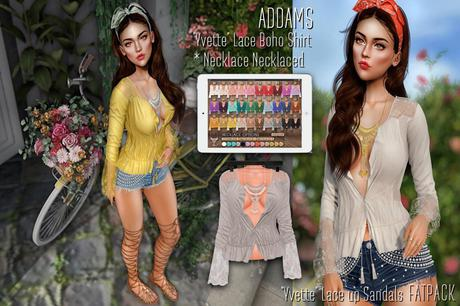 """Addams """"Yvette"""" Lace Boho Shirt & Necklace #FATPACK"""
