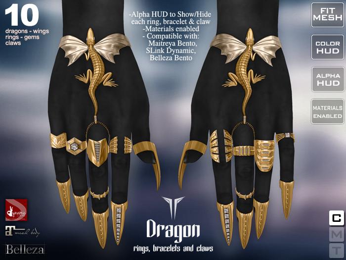 **RE** Dragon Rings, Bracelets & Claws - Maitreya Bento - SLink Dynamic - Belleza Bento