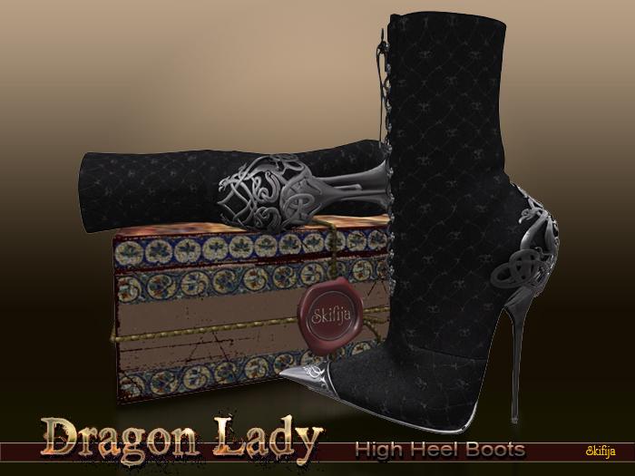!Skifija Dragon Lady Boots Black(add me)
