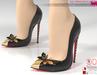 Black Leather Butterfly Point-Toe Heels Pumps Slink High, Maitreya High, Ocacin Belleza