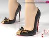 Full Perm Black Leather Butterfly Point-Toe Heels Pumps Slink High, Maitreya High, Ocacin Belleza