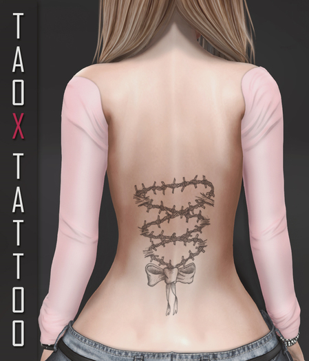 TAOX TaTToo Back Barbed Ribbon & BoM [ Bakes on Mesh ] & Appliers Omega Legacy Signature Maitreya Slink Belleza