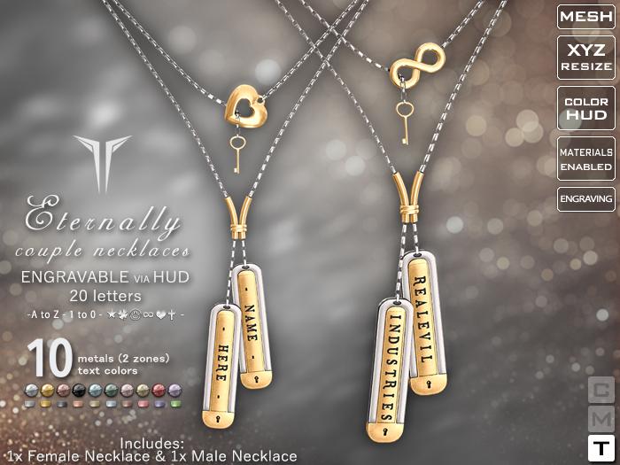 **RE** Eternally Couple Necklaces * ENGRAVABLE * Transferable