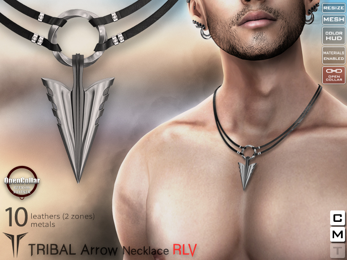 **RE** Tribal Arrow Necklace RLV - OpenCollar
