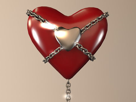 Chained Heart Tip Jar Red