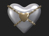 2 Chained Heart Tipjars Gold and Silver