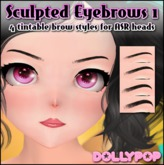 ~Dollypop~ Sculpted Eyebrows 1  for ASR Heads Tintable!