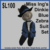 Miss Ing's Dinkie Zebra Suit Set Blue