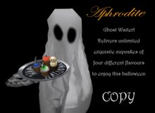 Aphrodite Ghost Waiter delivers halloween cupcakes on touch!