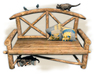 Wood bench with cats and birds - Old World - Rustic furniture - Medieval