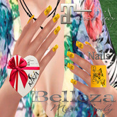 Nails Butterfly  Yellow 1MBF