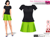 SAVE!! 2in1 Full Perm Summer Outfit, Short Sleeves Ruffled Collar Bow Neck Shirt, Pleaded Skirt