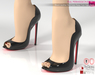 Full Perm Black Leather Red Sole Peep Toe High Heels Slink High, Maitreya High, Belleza High, Ocacin
