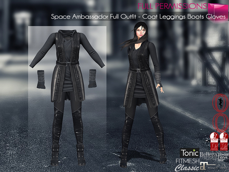 4in1 Space Ambassador Full Outfit Coat, Leggings, Boots, Gloves Maitreya, Slink, Belleza Tonic Classic