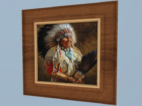 Second Life Marketplace Western Art Home Decor Native American Warrior Chief Canvas Painting Hanging Framed Plaque Copy Mod 1 Prim Promo Sale