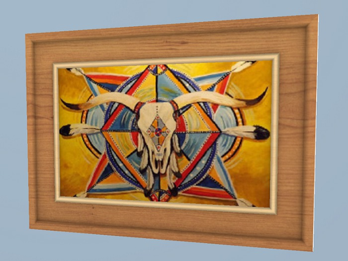 Second Life Marketplace Western Art Home Decor Native American Symbol Artists Canvas Painting Hanging Wall Plaque Mesh Copy Mod 1 Prim Promo