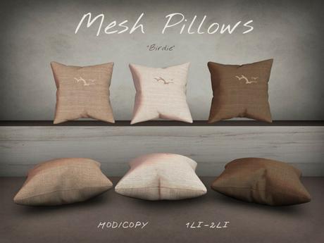"""Mesh Pillows """"Birdie"""" - Set of 6 - Browns"""