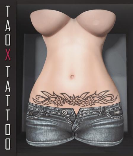 TAOX TaTToo Belly Flower Braid & BoM [ Bake on Mesh ] & Appliers Omega Legacy Signature Maitreya Slink Belleza