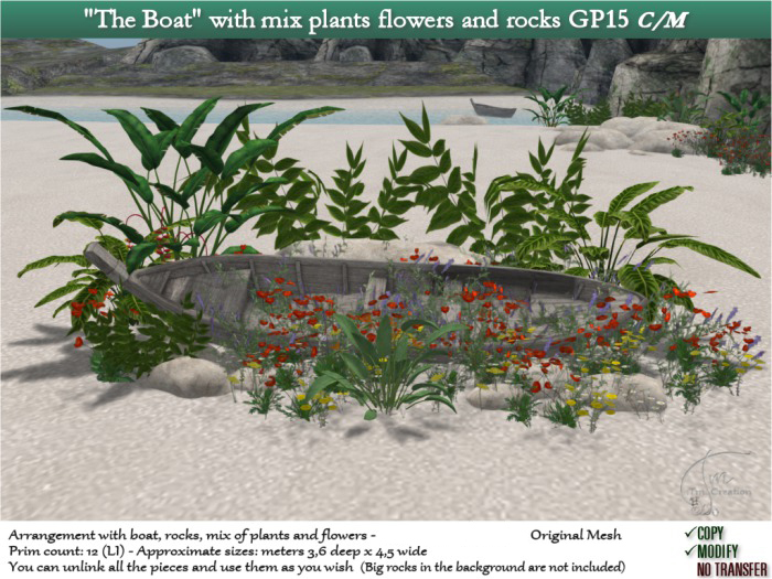 The Boat with mix plants flowers and rocks GP15