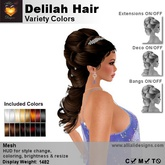 A&A Delilah Hair Variety Colors, bridal updo with show/hide crown, 9 styling options, rigged & unrigged versions