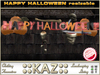 ::KAZ::  happy halloween decoration text with pumpkins and skulls sculpted resizable