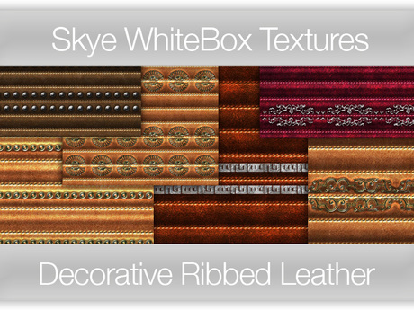 Decorative Ribbed Leather -  Skye WhiteBox Full PermsTextures