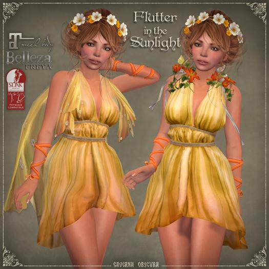 Flutter in the SUNLIGHT Dress by Caverna Obscura - Maitreya, SLINK Physique, Belleza Freya