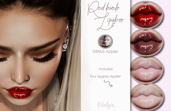 Violybee. Red Levels Lipgloss (GENUS Applier)