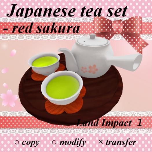 Japanese tea set - red sakura