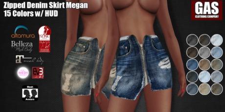 GAS [Zipped Denim Skirt Megan - 15 Colors w/HUD FATPACK]