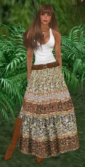 Boho Baku~ Brown floral boho gypsy skirt set