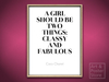Coco Chanel Quote | Classy And Fabulous Poster | Mesh Frame with 7 texture options