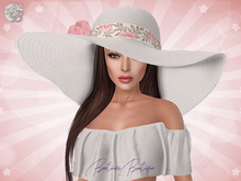 ♥ White Roses Summer Floppy Hat ♥