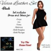 CnK: Vivica Pleated Leather Mini Set - Black