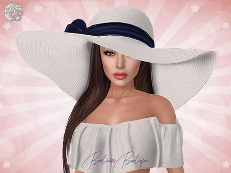 ♥ White Navy Summer Floppy Hat ♥