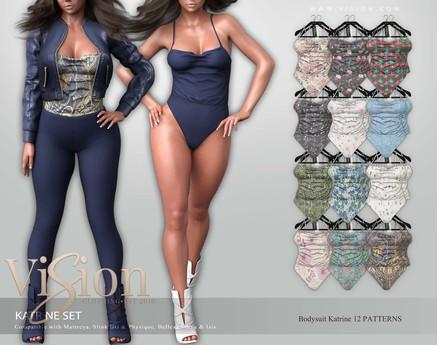{ViSion} // Katrine Bodysuit - PATTERN PACK - Maitreya, Legacy, Belleza Freya - Isis, Slink Hourglass - Physique