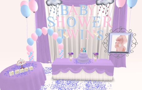 Second Life Marketplace Twin Boy Girl Baby Shower Decoration Party Package