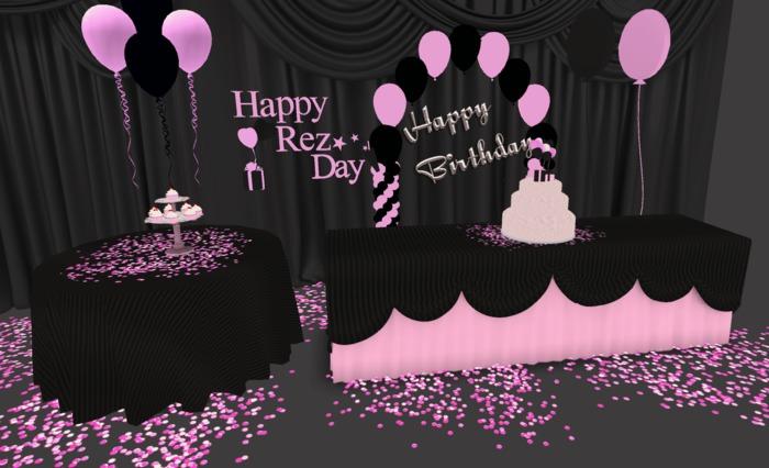 Second Life Marketplace Mesh Pink Black Birthday Rez Day Party Supplies Birthday Cake Happy Birthday Rez Day Mesh Balloons Cupcakes More