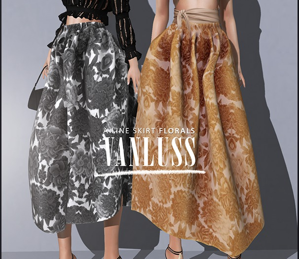 .VANLUSS. A Line Skirt Flowered Black