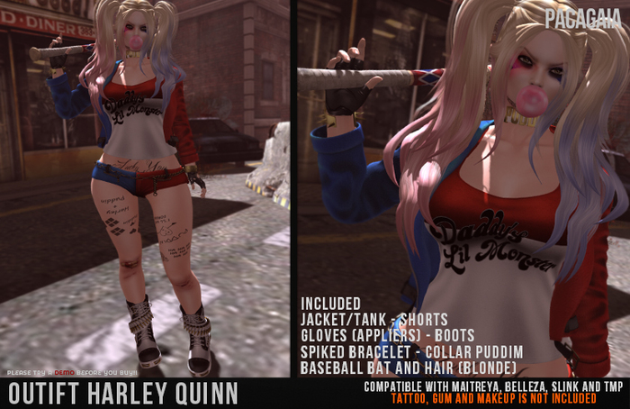 :PC: Outfit Harley Quinn (Belleza Venus, Isis, Freya, Slink Physique, Hourglass, Maitreya Lara and TMP)
