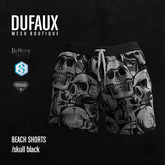 DUFAUX - beach shorts - skull black