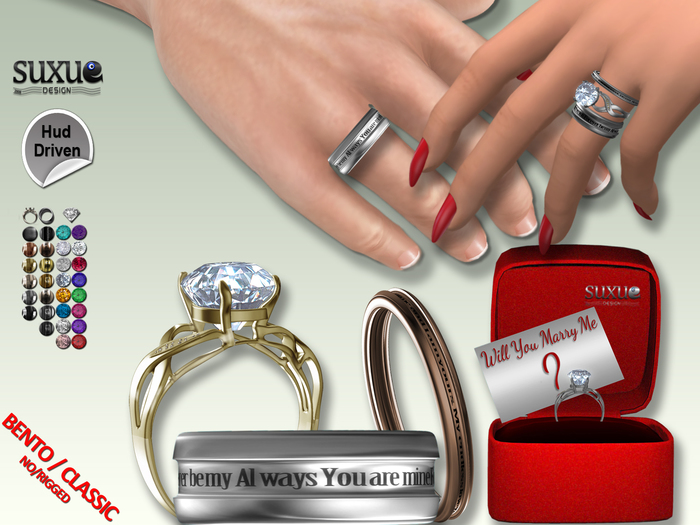 [SuXue Mesh] FATPACK Achile Bento & Classic Unrigged Rings promise engagement wedding Hud Resize 2 Boxes Female & Male