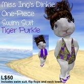 Miss Ing's Dinkie One Piece Swim Suit Tiger Purkle Set
