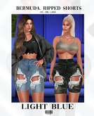 Bermuda. Light Blue Ripped Shorts ::Kloss:: BBL, HG, 9S JESSICA, LARA