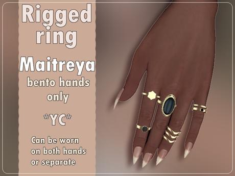 * yc * gold ring set black stone