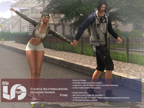 ACT5-244-Couple Skateboarding Holding Hands BOXED (ADD)