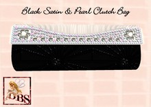 *DBS* Ladies Accessorie - Black Satin & Pearl Clutch Bag